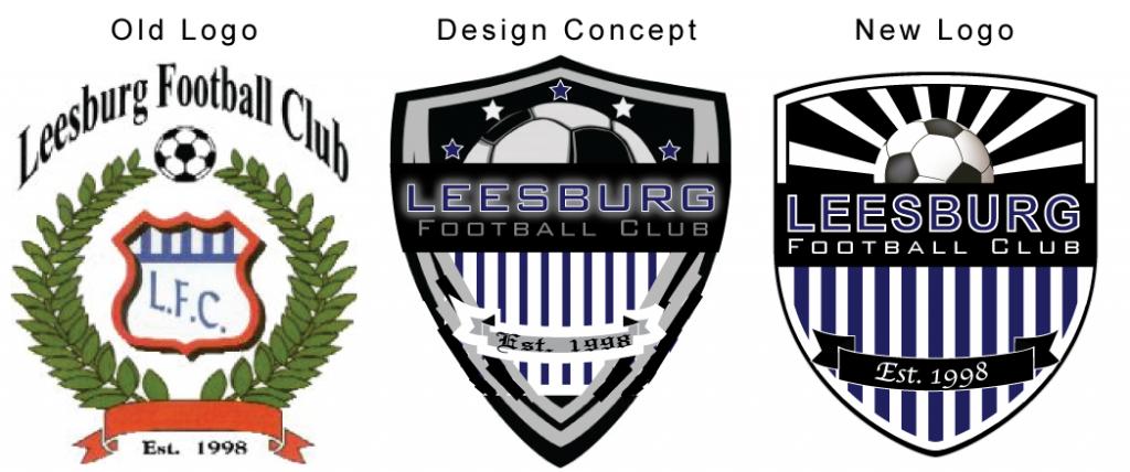 Leesburg FC logo design progression